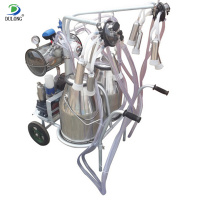 vacuum pump small cow milking machine with two transparent buckets