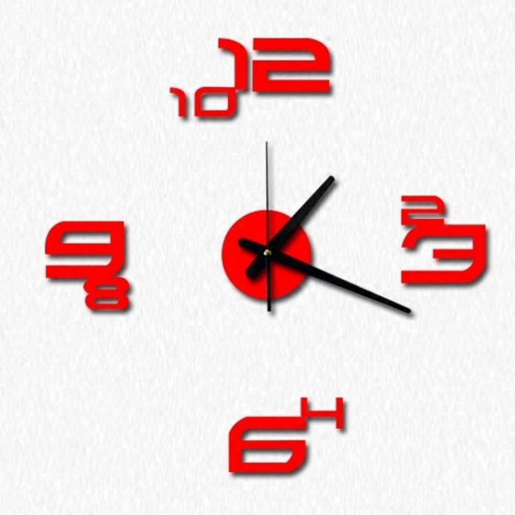 TONPAR Creative digital wall clock mute acrylic wall clock DIY modern minimalist clock , red