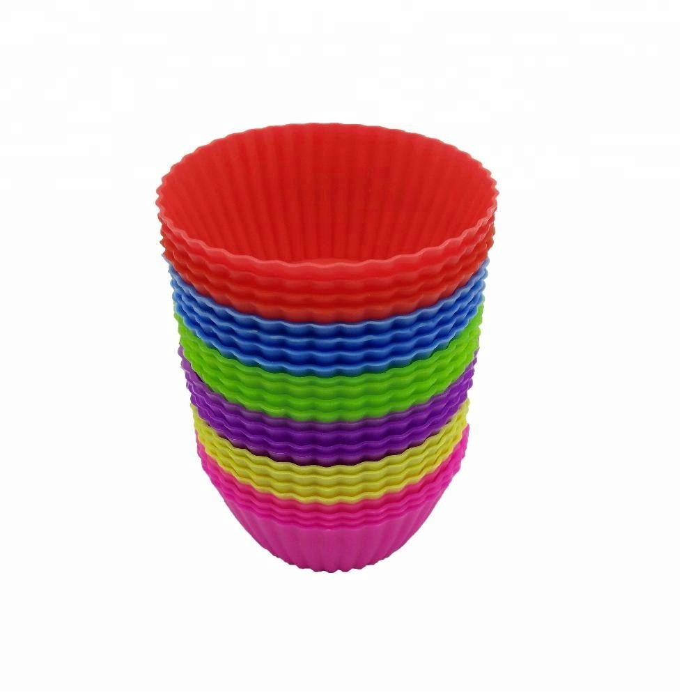 Manufacturer Reusable Silicone Vibrant Muffin Molds,12 Pcs Nonstick Cupcake Liners Baking Cups