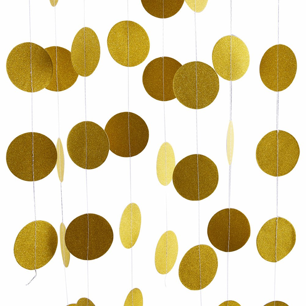 Glitter Party Decorations Garland,Gold White Pink Circle Paper Dots Hanging for Party decor 26 Feet Long (gold)