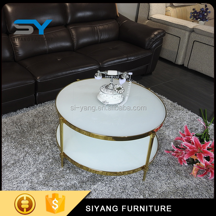 China factory price living room table coffee two-tier luxury gold coffee table CJ019