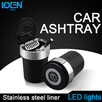 Auto interior accessories high temperature auto ashtray led light car ashtray with Cover
