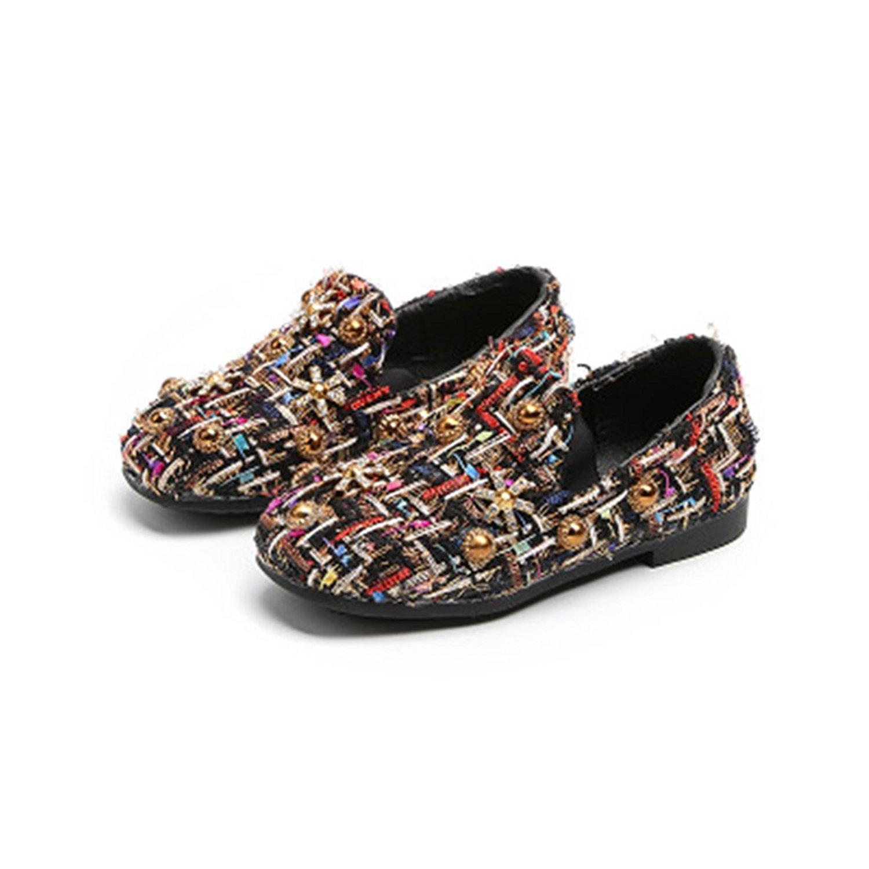 IINFINE Toddler Girls Ballet Flats Shoes Beaded Rhinestone Ballerina Princess Shoes