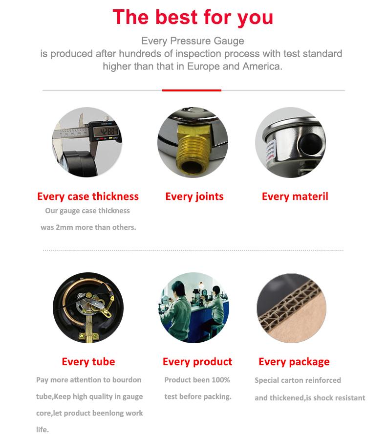 OEM Material Stainless Steel Hydraulic Oil Pressure Gauge