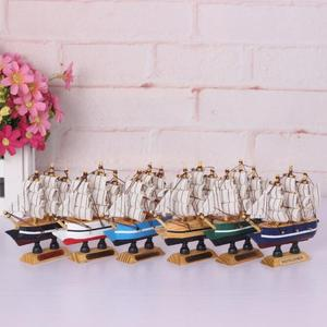 YX666 Hot selling high quality sailboat mediterranean style wooden crafts sailboat model for home decoration
