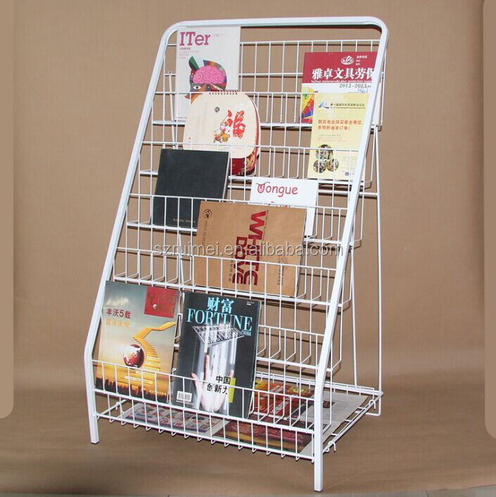 Metal wire book stand 4 tier CD display rack used display for CD magazine book