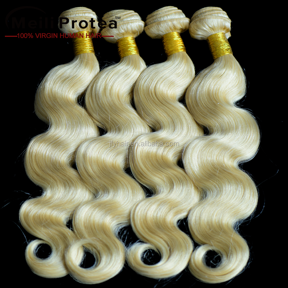 Top sale 100 european 613 color natural blonde weave remy virgin human hair weft extensions