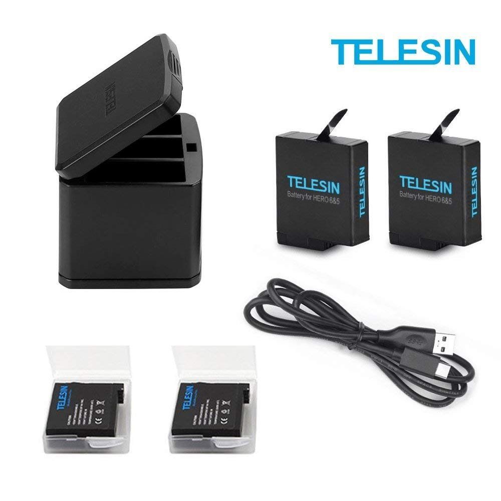 TELESIN 2-Pack 1220mAh Rechargeable AHDBT-501 Battery+3 Slots Battery USB Charger+ Type-C Charging Cable Accessories Kit for Gopro Hero 2018 Hero 6 Hero 5 Black, Battery Storage Carrying Case Design