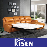 Modern leather recliner sectional L shape sleeper sofa