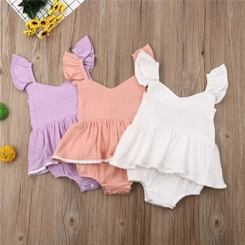 Children wear baby girl romper flying sleeves dress skirts jumpsuit