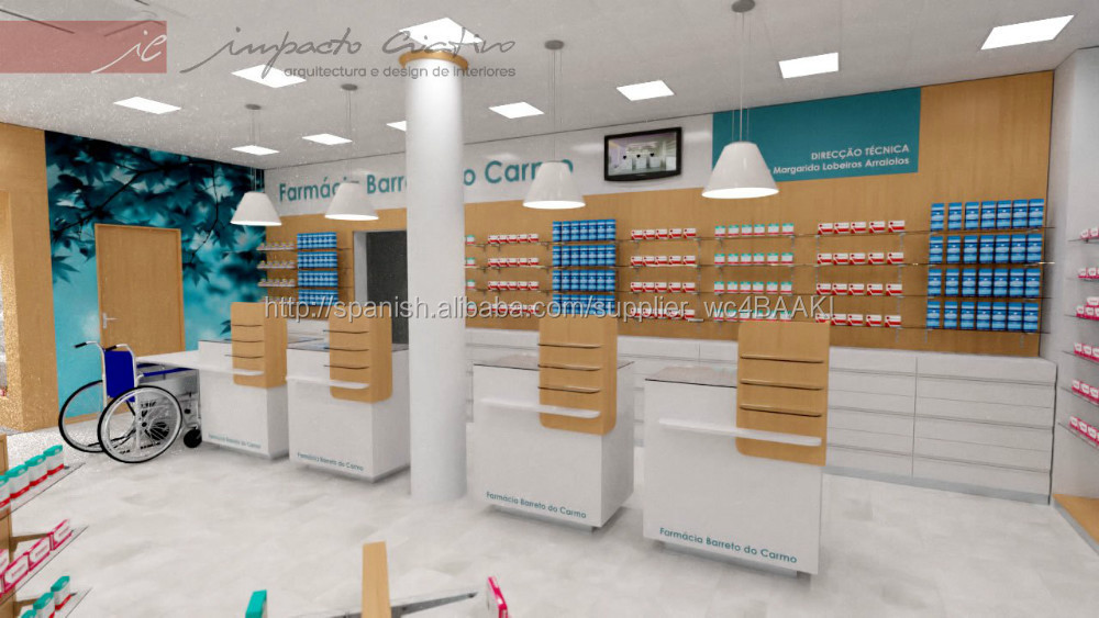 Muebles comerciales para tienda de farmacia mostrador estantería y mesa de tr...