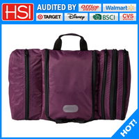 unique purple polyester hanging travel cosmetic bag
