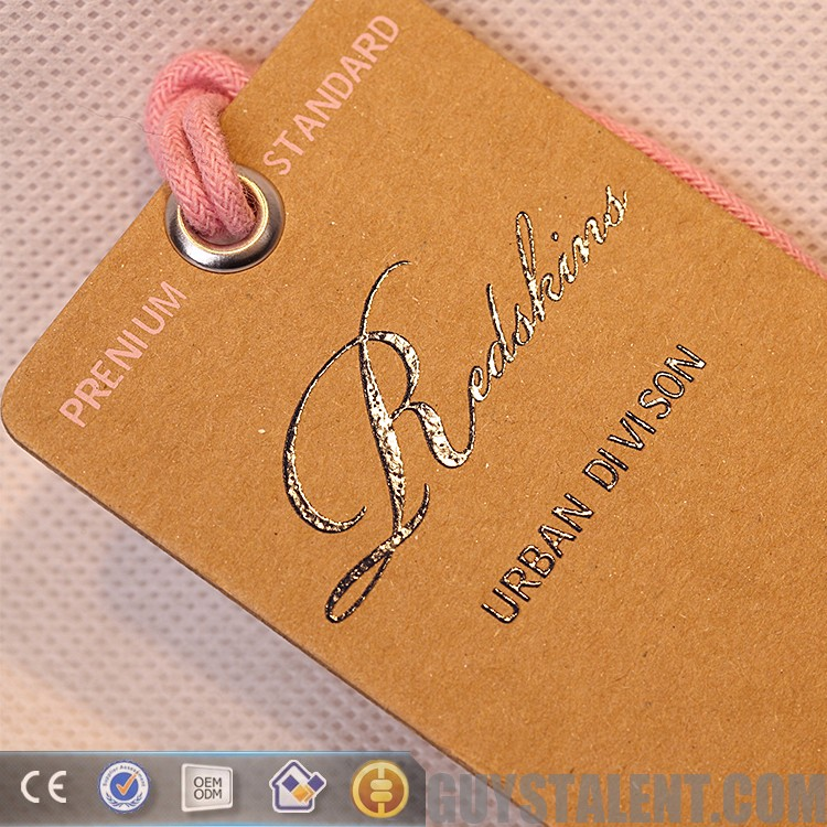 custom private brand printed brown craft paper hang tag for garment