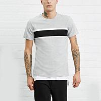 High quality casual crew neck t shirt short sleeve color block mens gym shirt
