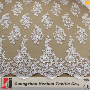 WHF-362 Hechun white bridal lace material for fashion show heavily lace fabric