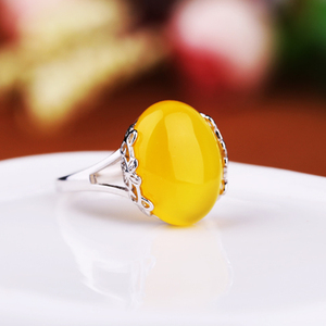 100% S925 sterling silver jewelry Adjustable Ring Blank with Oval Cabochon Base for Women