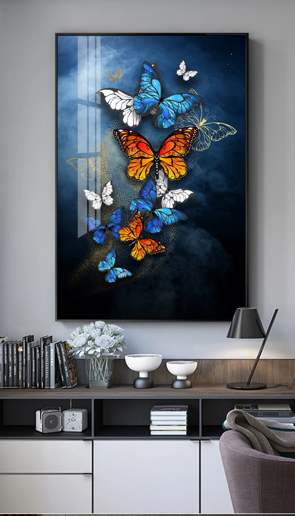 New design glass pictures designs Crystal porcelain painting butterfly