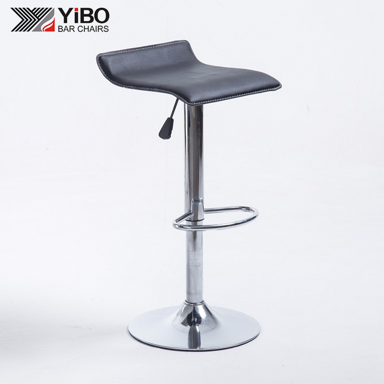 PU bar stoel verchroomde base barkruk met verchroomde basis gaslift