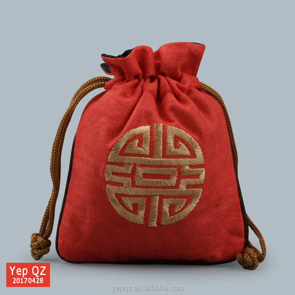 Alibaba supplier wedding favour embroidery logo small jute gift bag