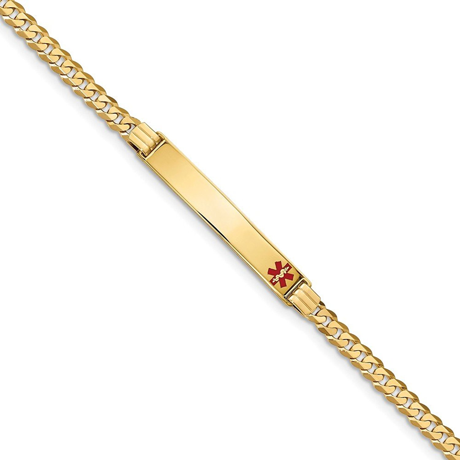 Sonia Jewels Solid 14k Yellow Gold Medical Red Enamel Cuban Curb Link ID Bracelet - with Secure Lobster Lock Clasp (6.5mm)