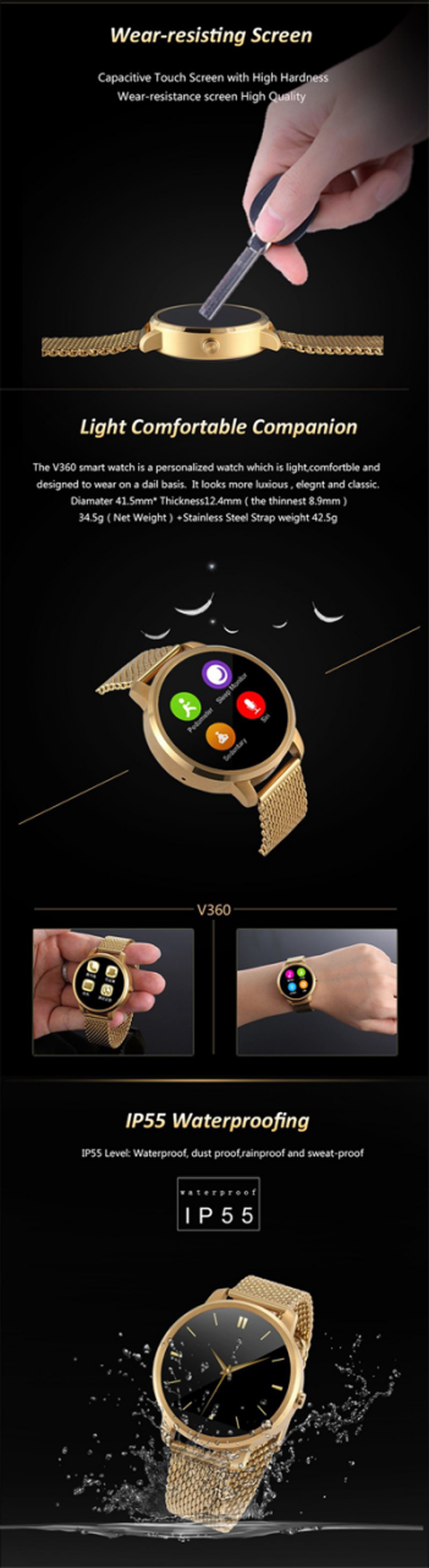 2017 Secutronic Update V360 with 1.22 inch 2.0M Camera Bluetooth android gps smart watch