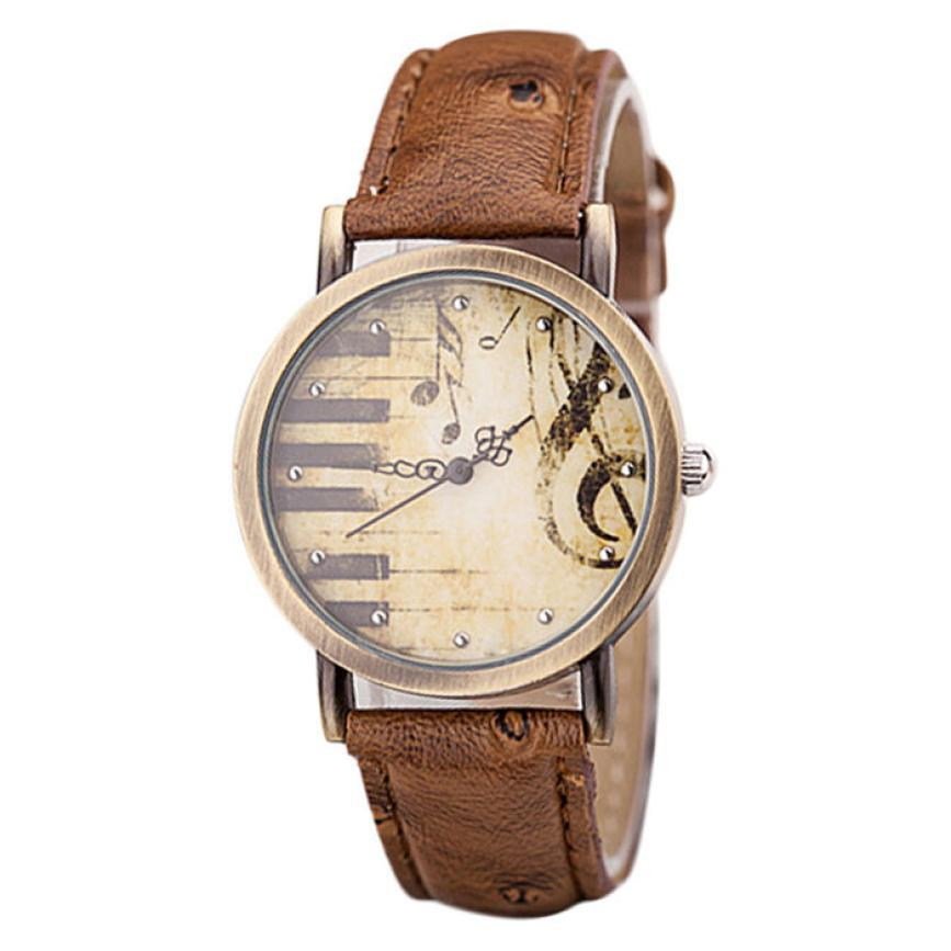 Delicate Fashion Men And Women Retro Classical Piano Keys Pattern Dial Leather Watch nor5824