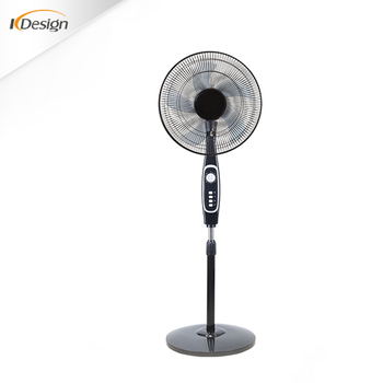 Black Commercial Decorative Oscillating Pedestal Fan Abs Material 16