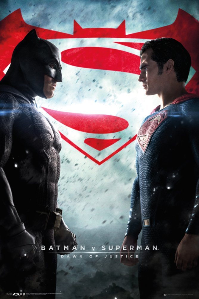 "Batman Vs. Superman: Dawn Of Justice - Movie Poster / Print (Regular Style - Batman & Superman / Logos) (Size: 24"" x 36"") (By POSTER STOP ONLINE)"