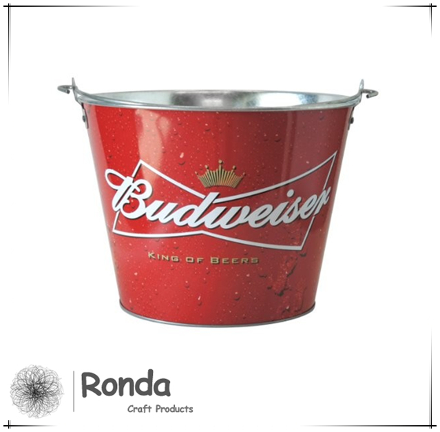 Tin ice bucket for bar, Galvanized iron Beer Ice bucket for party