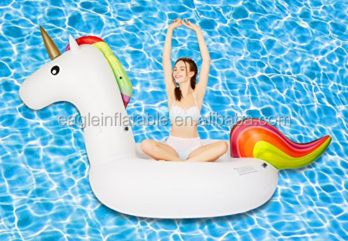 Hot sales pool party adult outdoor toys rainbow unicorn giant inflatable unicorn pool float beach games inflatable float