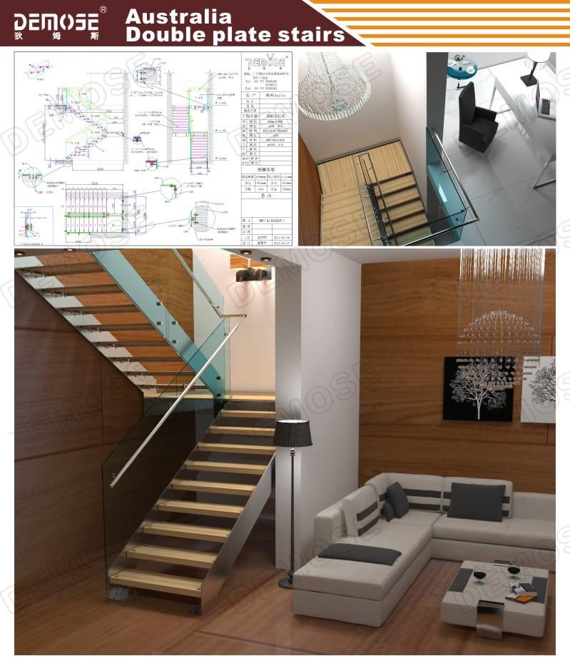 Modern Steel Prefabricated Staircase/ Wood Stair Edging
