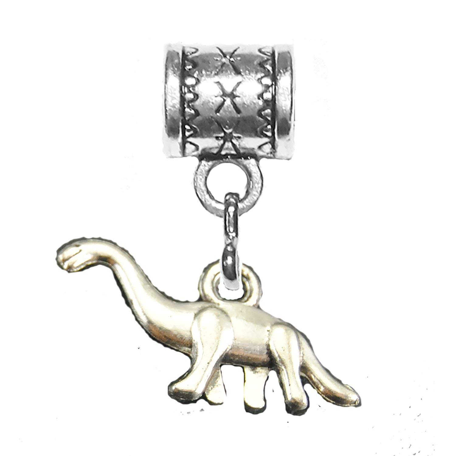 """""""Dinosaur"""" - brontosaurus is an antique silver charm by Mossy Cabin for modern large hole snake chain charm bracelets, or add to a neck chain, pendant necklace or key chain"""