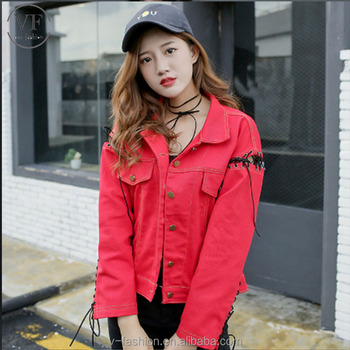 Shopping Clothes Light Wash Woman Cotton Printing Red Denim Jacket