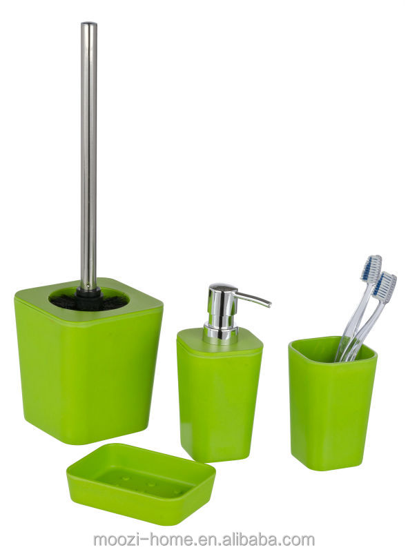 green bathroom accessories set, plastic bath sets with rubber coating