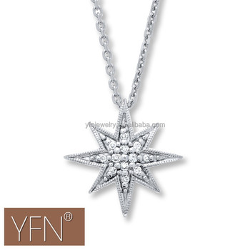 925 sterling silver eight pointed star white crystals cz pendant 925 sterling silver eight pointed star white crystals cz pendant necklace mozeypictures Image collections