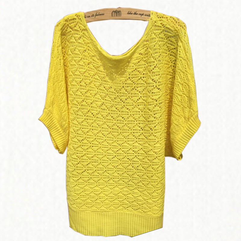Summer Style Women Sweaters And Pullovers 2015 Hollow Out Batwing Sleeve Pull Crochet Jumper Casual Thin Knitwear Candy Color