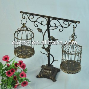 Shabby chic antique decorative bird cage with stand