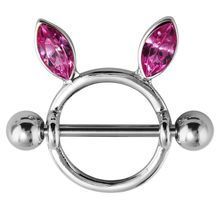316L Stainless Steel Jeweled Bunny Ears Nipple Ring Barbell Shield