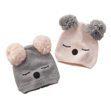 Knit kids hats custom animal ears design fancy cute hats for little girls