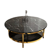Italian style oval round shape gold stainless steel frame two-layer coffee side table with white marble top