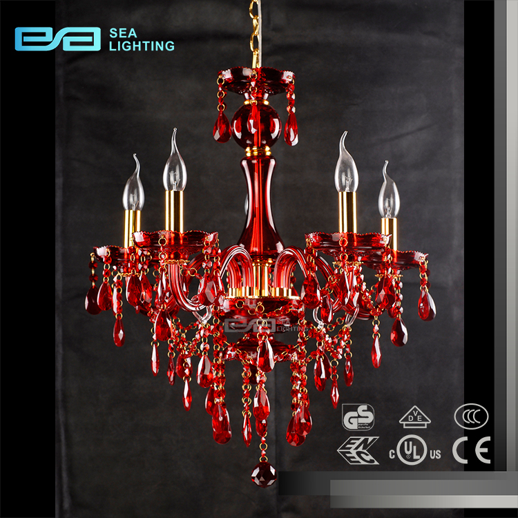 Red Acrylic Chandelier: Dining Room Remote Control Led Red Acrylic Flower Baccarat