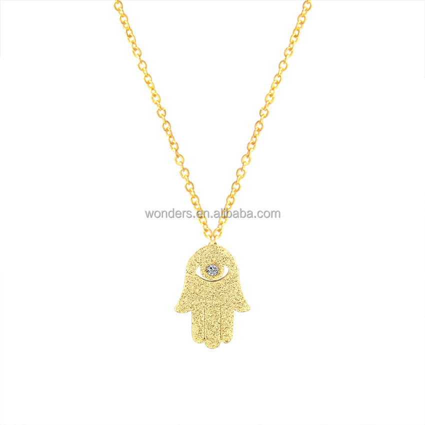 fashion Jewelry Rhinestone Evil Eye Gift Idea Hamsa Hand Statement Necklace in Gold/Silver/Rose Gold