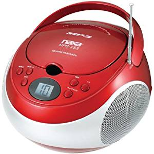 NAXA NPB252RD Portable CD/MP3 Players with AM/FM Stereo (Red)