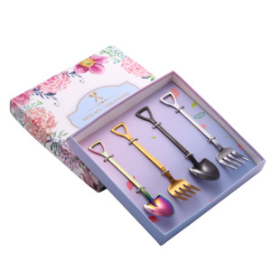 Stainless Steel Shovel-Shaped Tea Coffee Sugar Spoons Forks Ice Cream Scoop Dessert Spoons Small Spoon Fork set