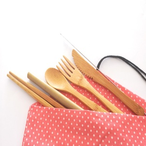 Bamboo cutlery set with straw for camping/travel/outdoor/airline with carrying pouch