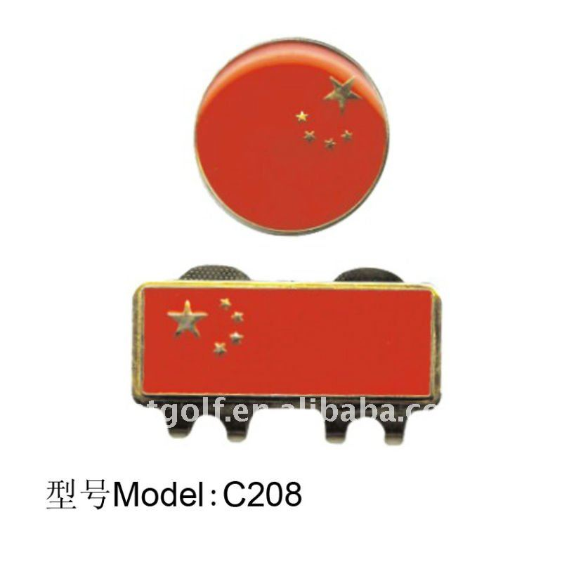 2016 New Ideal Chinese Flag Ball Marker Golf Manufacturer& Export