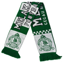 low MOQ custom acrylic knitted polyester print pattern soccer fan scarf