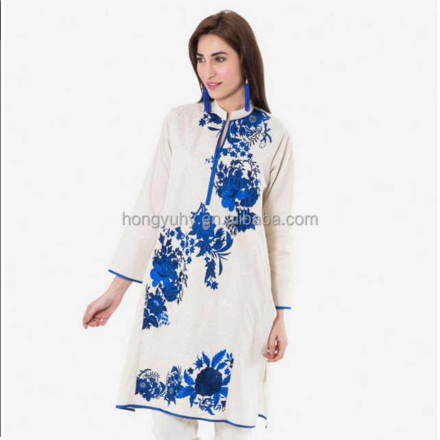 Indian wholesale clothing blue embroidery kurta designs for women