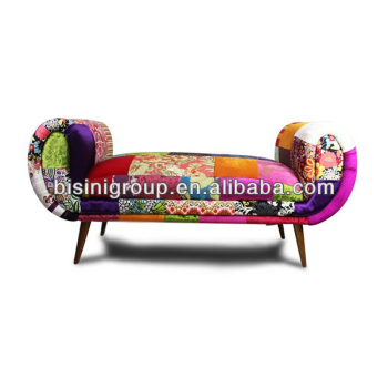 Modern Spanish Style Chaise Lounge In Colorful Patchwork Frabic