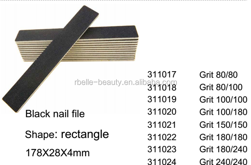 Professional emery board nail file grit 100/180 black Nail File
